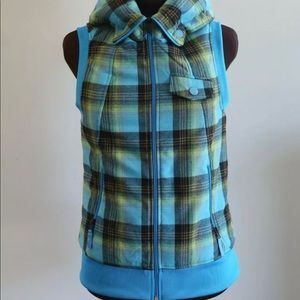 Burton Dryride Vest Women's  Blue Green Plaid Vest